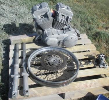 0136 Burnt Harley Davidson engine & parts after 19-03-14